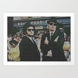 Text Portrait of Blues Brothers with full script of the movie The Blue Brothers Art Print