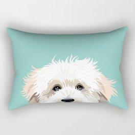 Golden Doodle pet portrait art print and dog gifts Rectangular Pillow