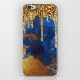 Gold Rain on Indigo Marble iPhone Skin