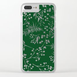 Forest green country chic faux silver floral leaves Clear iPhone Case