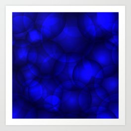 Glowing blue soap circles and volume sea bubbles of air and water. Art Print