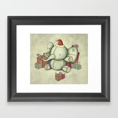 Happy Cute Elephant Framed Art Print