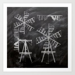 steampunk western country chalkboard art agriculture farm windmill patent print Art Print