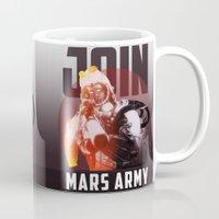 propaganda Mugs featuring Martian Army Propaganda Poster by Thecansone
