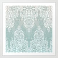 moroccan Art Prints featuring Lace & Shadows - soft sage grey & white Moroccan doodle by micklyn