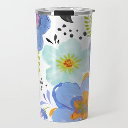 Mixed Media Flowers with Black Accent Flowers Travel Mug