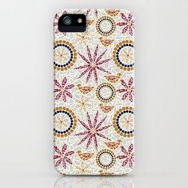 Birds and Flowers Mosaic - Grey, Rust and Red iPhone Case