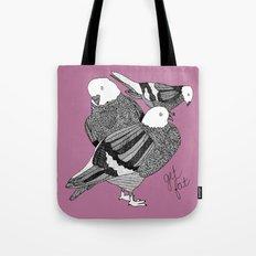 Three Pigeons Getting Fat Tote Bag