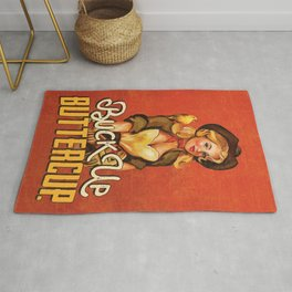 """Buck Up Buttercup"" Cowgirl In A Hat With A Bird Pinup Art Rug"