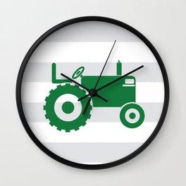 Green tractor Wall Clock