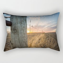 Late December - Western Scene of Fence Post and Sunset Rectangular Pillow