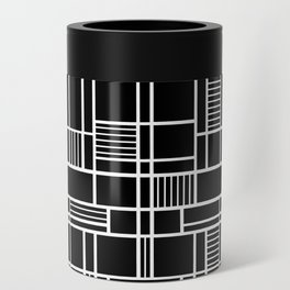 Map Lines Black Can Cooler