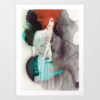 fashion illustration Art Prints featuring FASHION ILLUSTRATION 11 by Justyna Kucharska