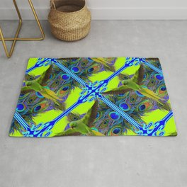 ART NOUVEAU FLYING GREEN PARROTPEACOCK FEATHER CHARTREUSE ART Rug