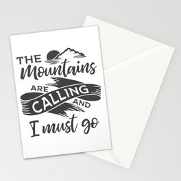 The mountains are calling gray ribbon Stationery Cards