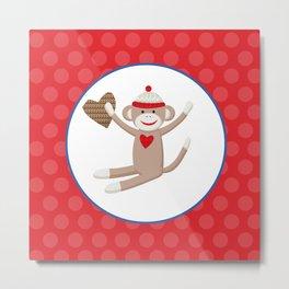 Sock Monkey Red Dots Metal Print