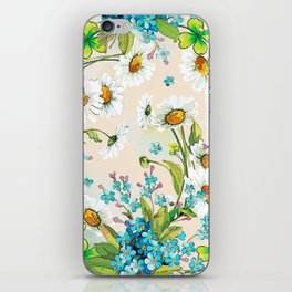 Adorable white sunflower texture iPhone Skin