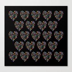 Hearts Heart Multiple on Black Canvas Print