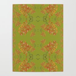 Orchids on Olive Green Poster