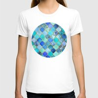 tote T-shirts featuring Cobalt Blue, Aqua & Gold Decorative Moroccan Tile Pattern by micklyn