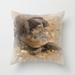 Slow Love - Tortoises Throw Pillow
