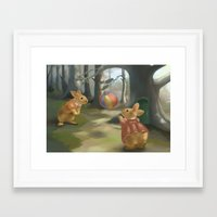 rabbits Framed Art Prints featuring Rabbits by Elena Naylor
