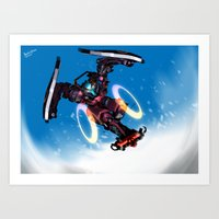 snowboarding Art Prints featuring Sci-fi Snowboarding by Benedick Bana