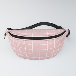 Baby pink - pink color - White Lines Grid Pattern Fanny Pack