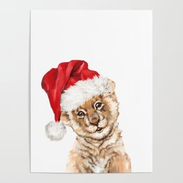 Christmas Baby Lion Poster