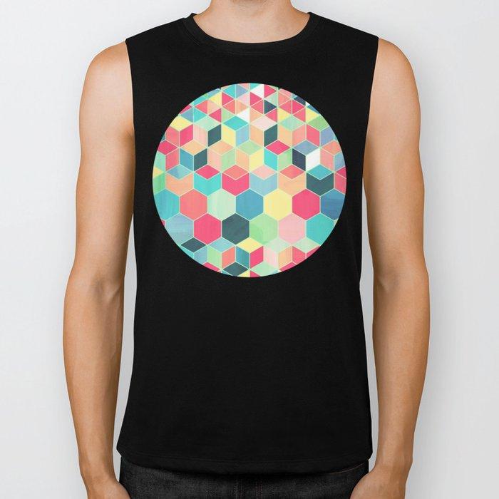 Yummy Summer Colour Honeycomb Pattern Biker Tank