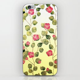 """""""Spring pink flowers and leaves"""" iPhone Skin"""