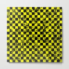 Yellow Checkers Distressed Metal Print