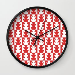 Art Deco Jagged Edge Pattern Red Wall Clock
