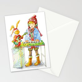 Indie Pop Girl at Christmas Time Stationery Cards