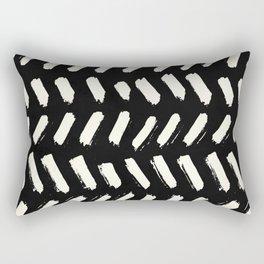 Tribal Dance Dot - Ivory on Black Rectangular Pillow