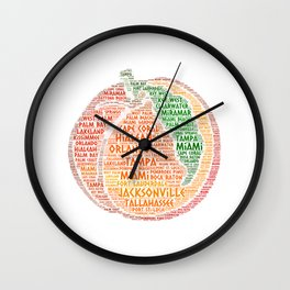 Peach Fruit illustrated with cities of Florida State USA Wall Clock