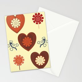 Hearts and flowers pattern Stationery Cards