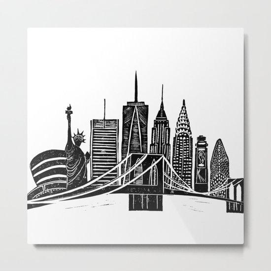 Linocut New York Metal Print