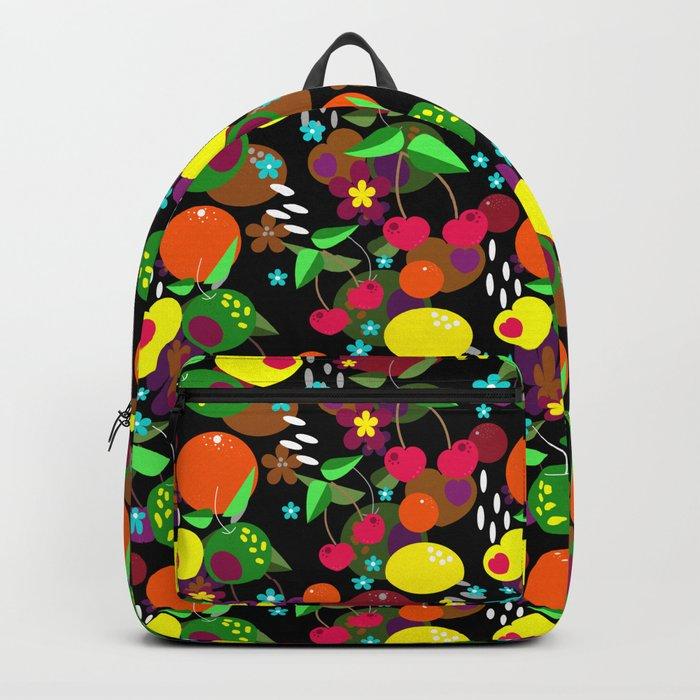 Fruit berry pattern on black . Backpack