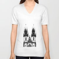 prague V-neck T-shirts featuring Tyn Church - Prague by Nicole Cioffe
