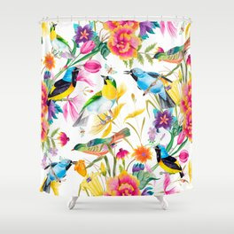 Birds Colourful Floral Motif Pattern Tropical decor Spring Flowers Shower Curtain