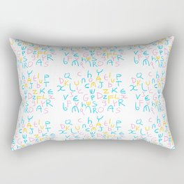Alphabet 4 -letter,child,language,Abecedarium,abc,abcdefg, symbols,,script,write,writing Rectangular Pillow