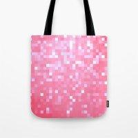 bubblegum Tote Bags featuring Bubblegum Pink Pixels by 2sweet4words Designs