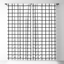 fine black grid on white background - black and white pattern Blackout Curtain