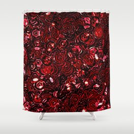 Red Scattered Sequins Shower Curtain