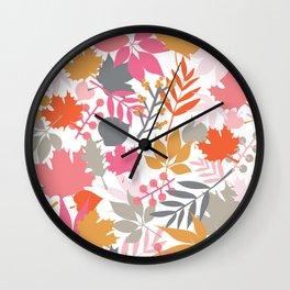 Leaf Silhouettes Maple Acorn  Fern Autumn Pattern Wall Clock