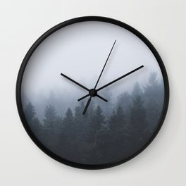 Mysterious forest in the fog Wall Clock
