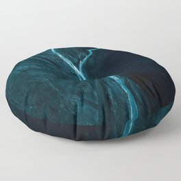 Void River – Minimalist Landscape Photography Floor Pillow