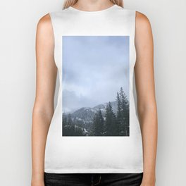 Snowy Peaks Above a Green Forest in Victoria, B.C. (Canada) Biker Tank