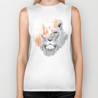 lion Biker Tanks featuring If I roar (The King Lion) by Picomodi